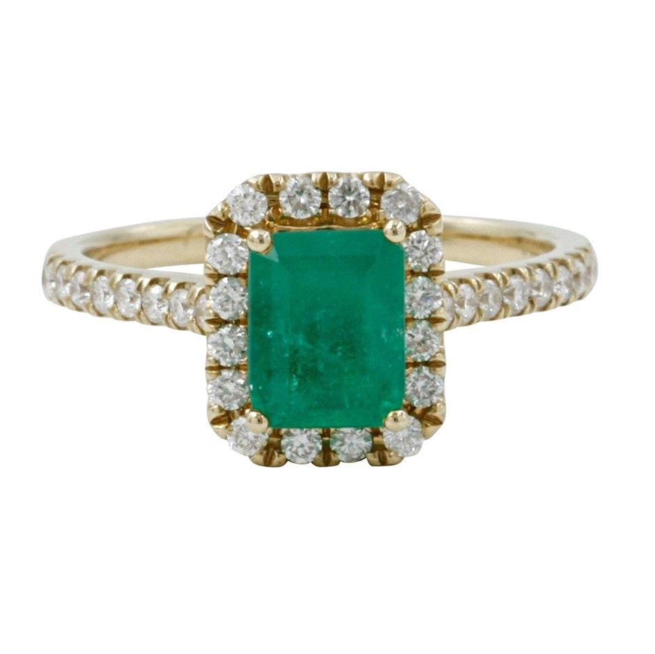 9ct Yellow Gold, 2.10ct Emerald and Diamond Ring