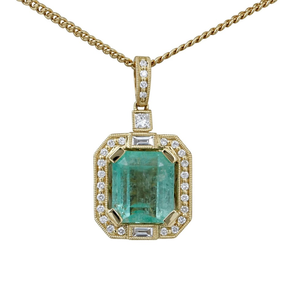 18ct Yellow Gold, 6.45ct Emerald and Diamond Pendant