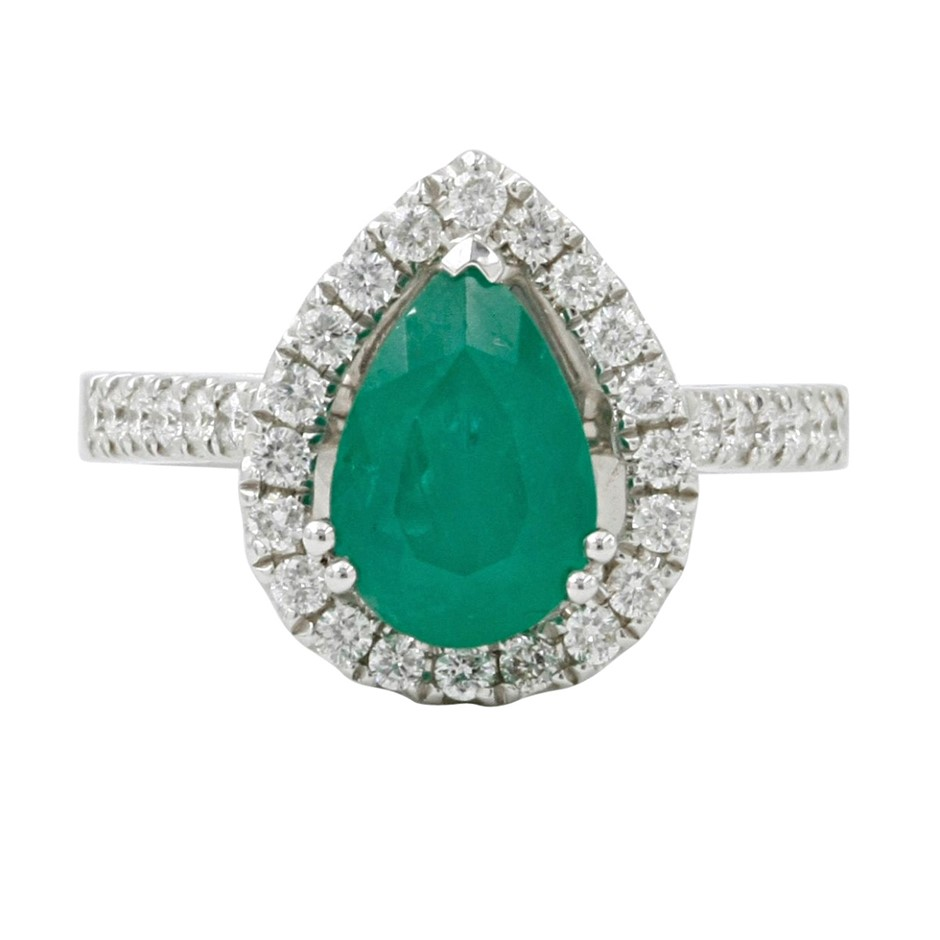 9ct White Gold, 2.09ct Emerald and Diamond Ring