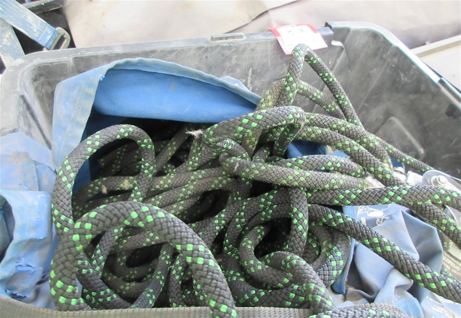 Plastic Tubs with Ropes and Safety Equipment