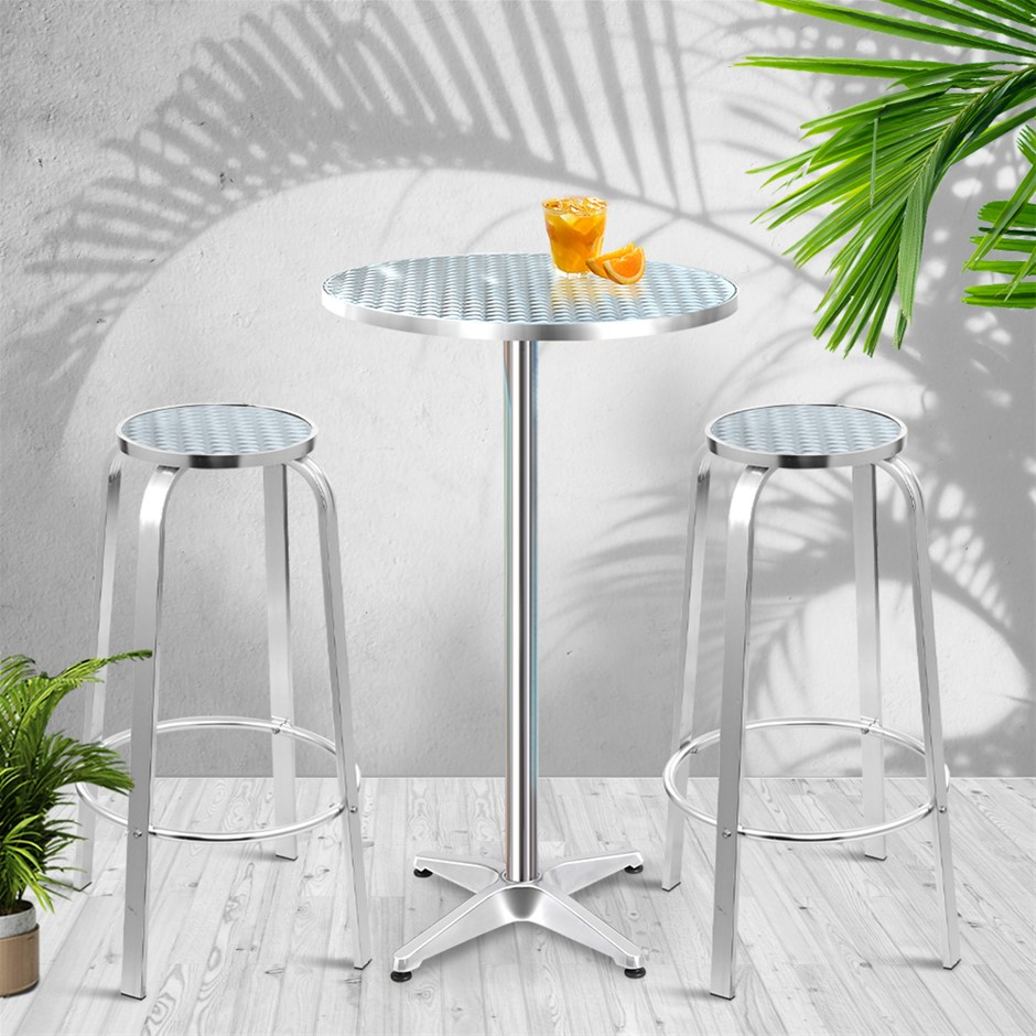 Gardeon Outdoor Bistro Set Bar Table Stools Adjustable Aluminium Cafe 3 Pc