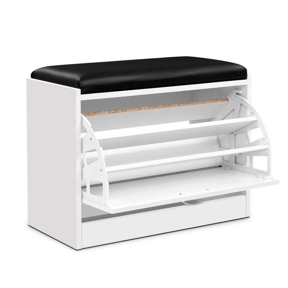 Artiss Shoe Cabinet Bench Shoes Storage Rack Storage White 15 Pairs