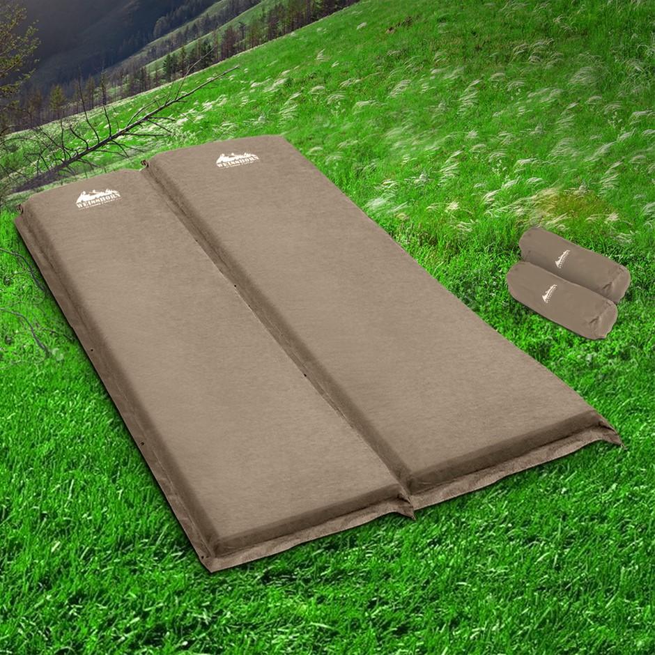 Weisshorn Self Inflating Mattress Camping Sleeping Mat Double Coffee 10CM
