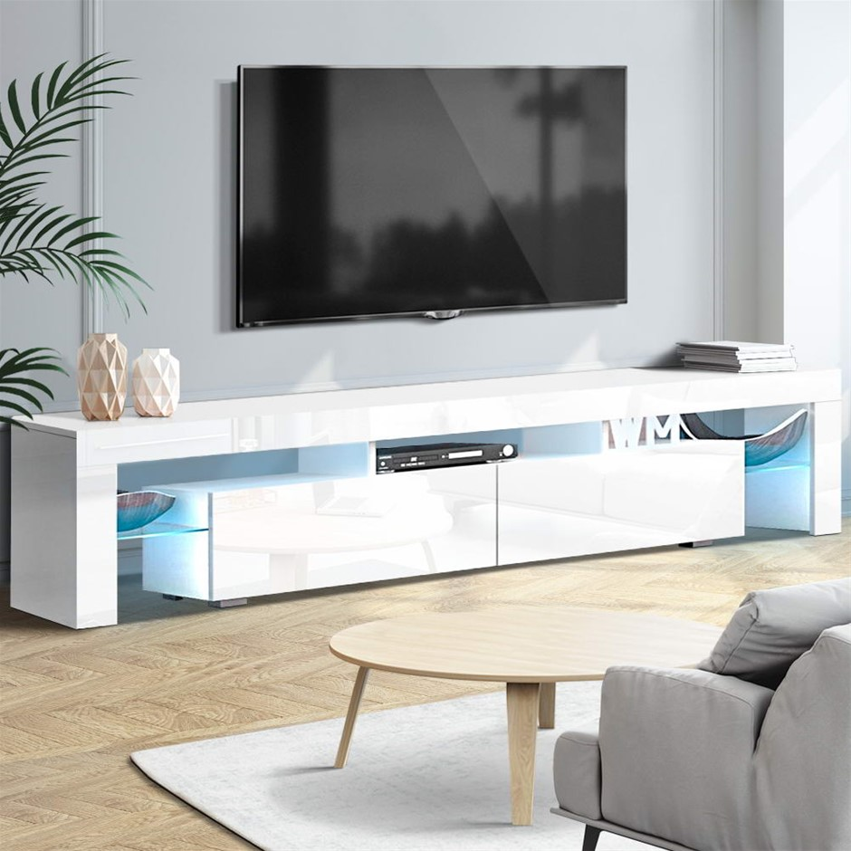 Artiss TV Cabinet Entertainment Unit Stand RGB LED Gloss 200cm White
