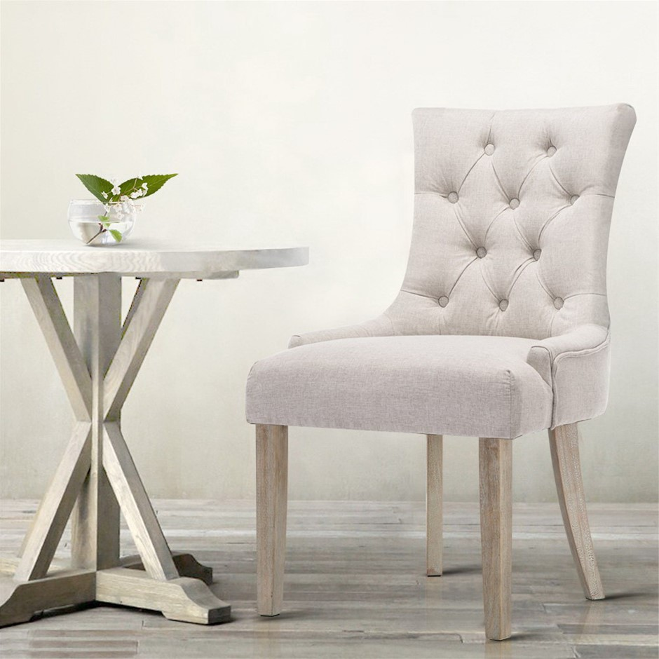 Artiss Dining Chair CAYES French Provincial Wooden Fabric Beige