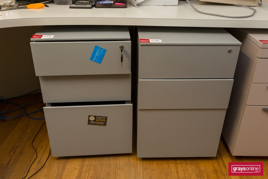 2x Matching Mobile Under Desk Filing Cabinets