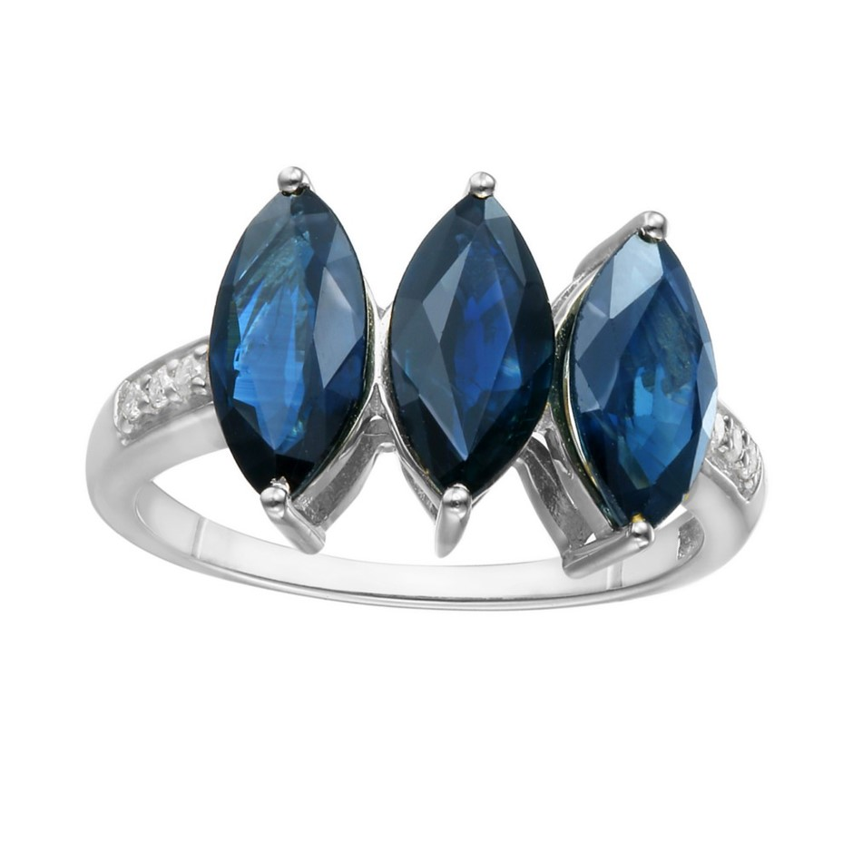 9ct White Gold, Blue Sapphire and Diamond Ring