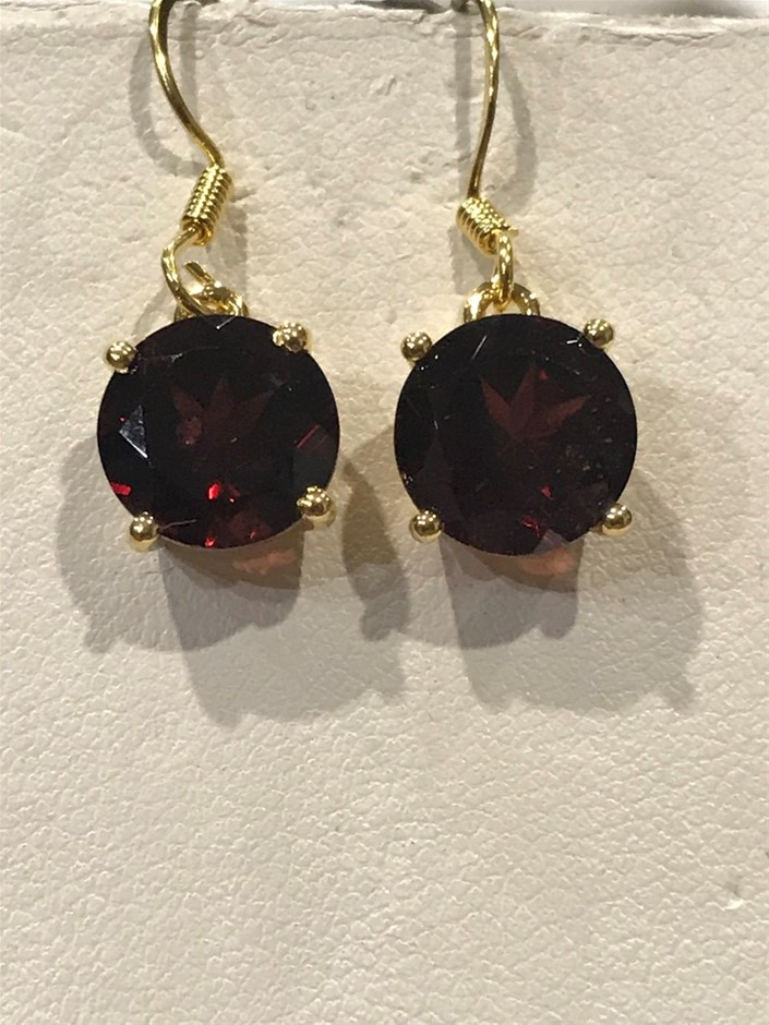 Magnificent Garnet 5.00ct & 18K Gold Vermeil Earrings