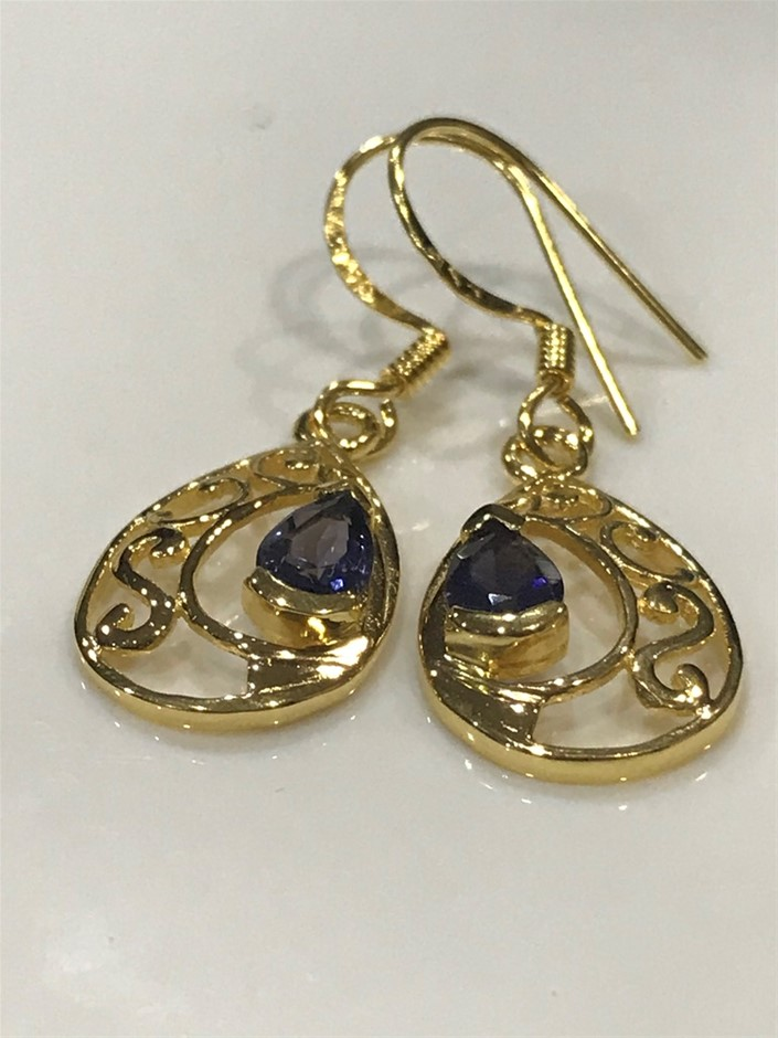 Eye Catching Iolite & 18K Gold Vermeil Earrings