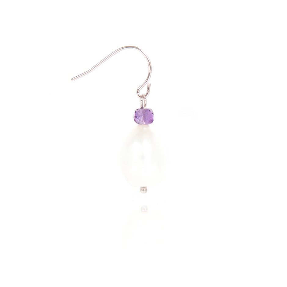 Freshwater Pearl & Faceted Amethyst Set Sterling 925 Silver Drop Earrings