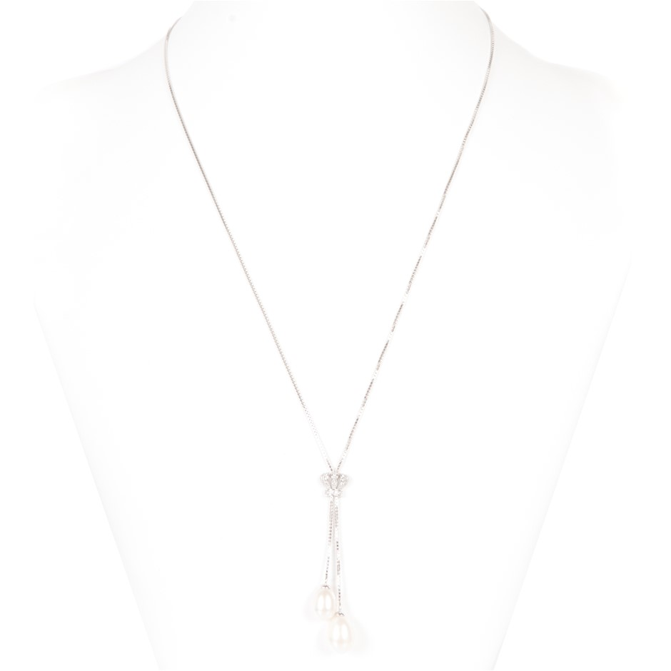 Natural Freshwater Pearl & CZ Set Necklace