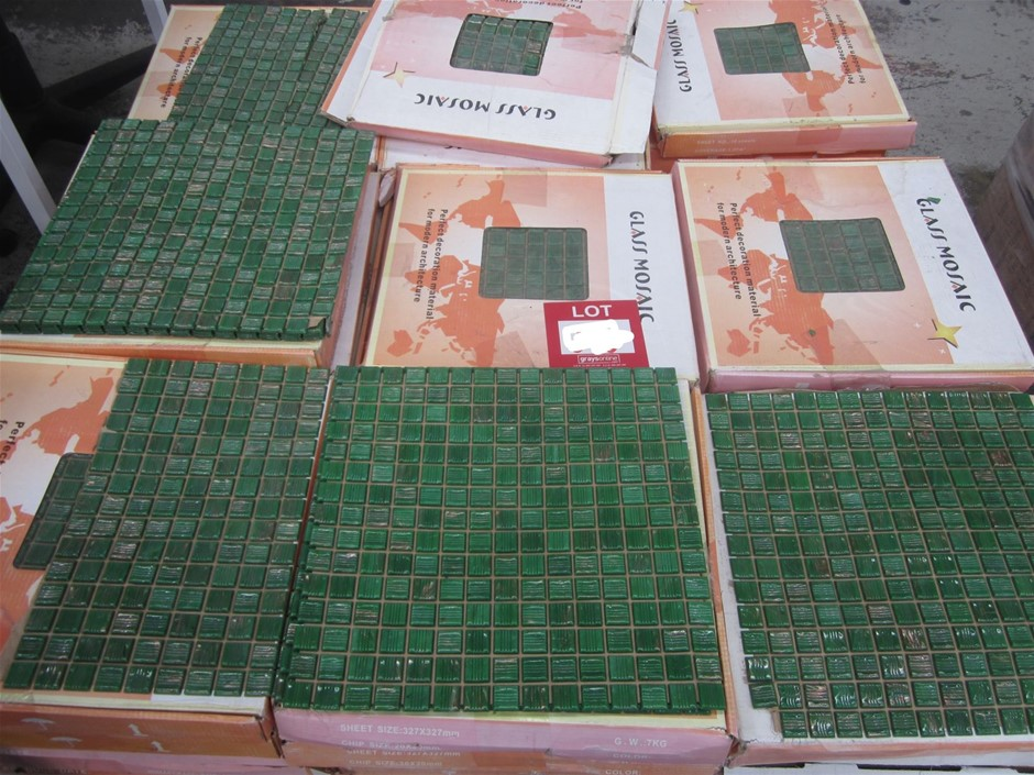 Box of Green Glass Mosaic Tiles. Sheet size 320mm x 320mm.