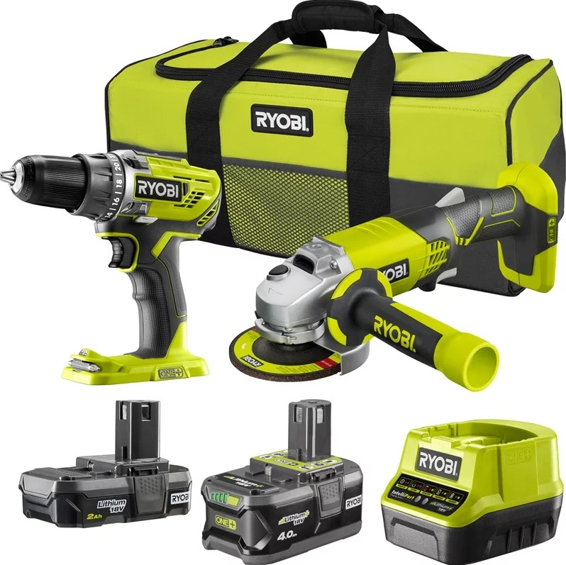 RYOBI Drill Diver & Angle Grinder Kit c/w 2 x Batteries & Charger. (SN:R18D