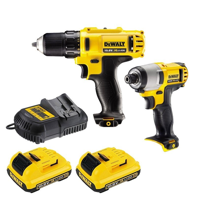 DeWALT 10.8V 2pc Combo Drill Kit Comprising Impact Driver, Drill Driver, 2