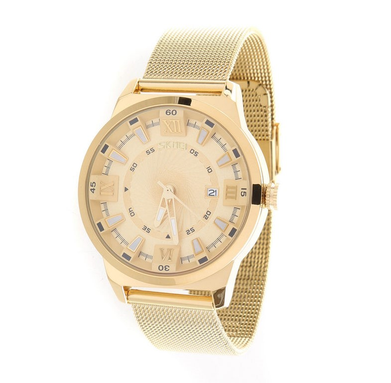 SKMEI Men`s Fashion Quartz Wrist Watch, Waterproof to 30M, Calendar, Staine