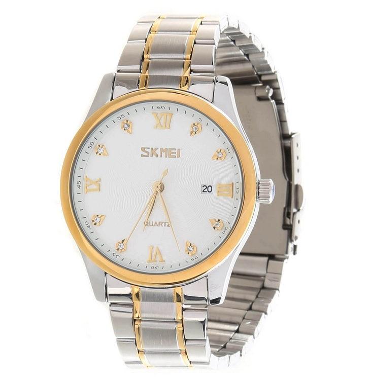 SKMEI Men`s Quartz Wrist Watch w/ Stainless Steel Bracelet, White Face. (SN