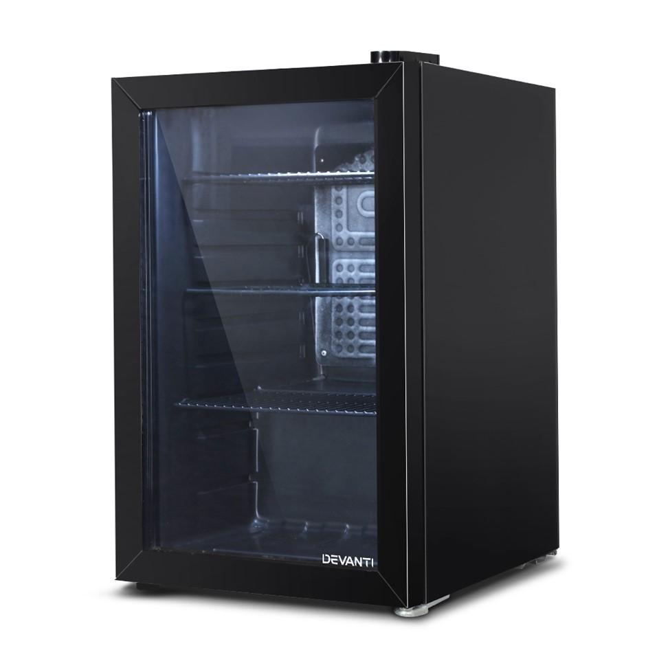 Devanti 70L Bar Fridge Glass Door Mini Countertop Freezer Fridges Bottle