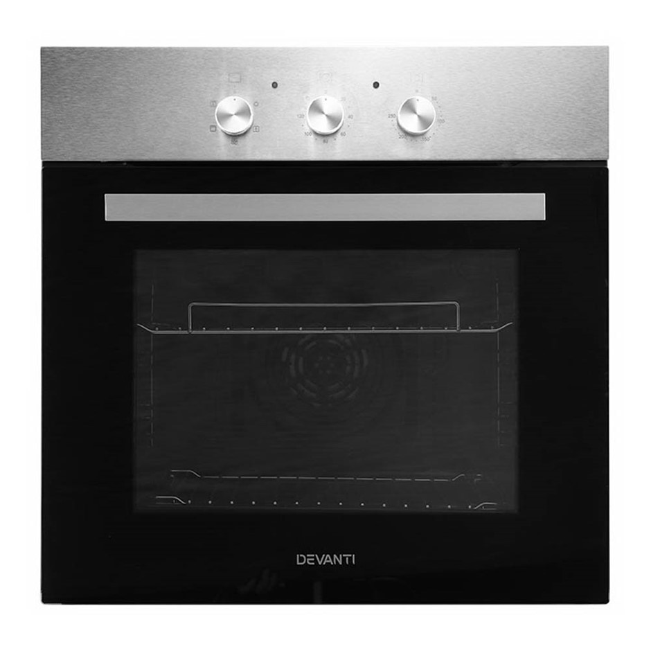 Devanti 70L Electric Oven Built in Wall Forced Grill Stainless Steel