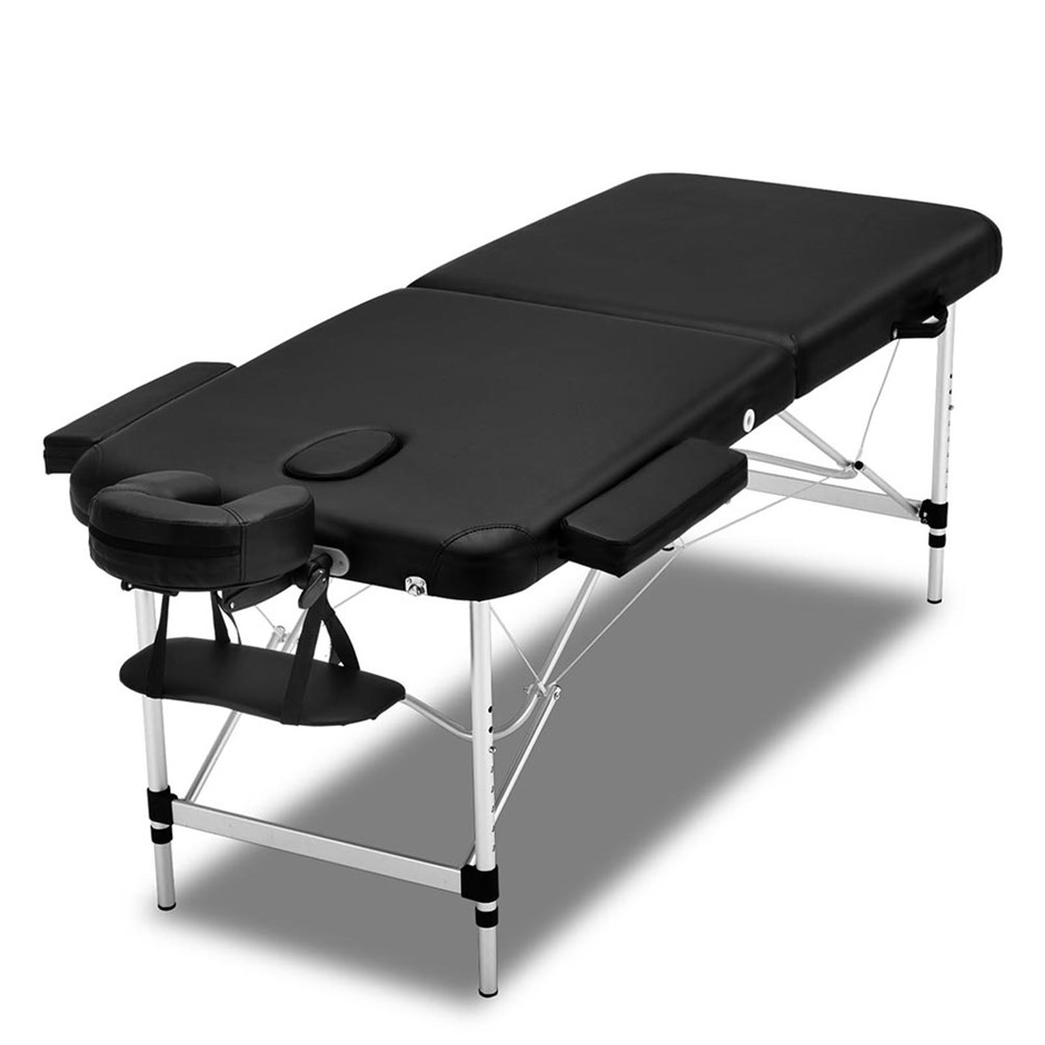 Zenses 2 Fold Portable Aluminium Massage Table - Black