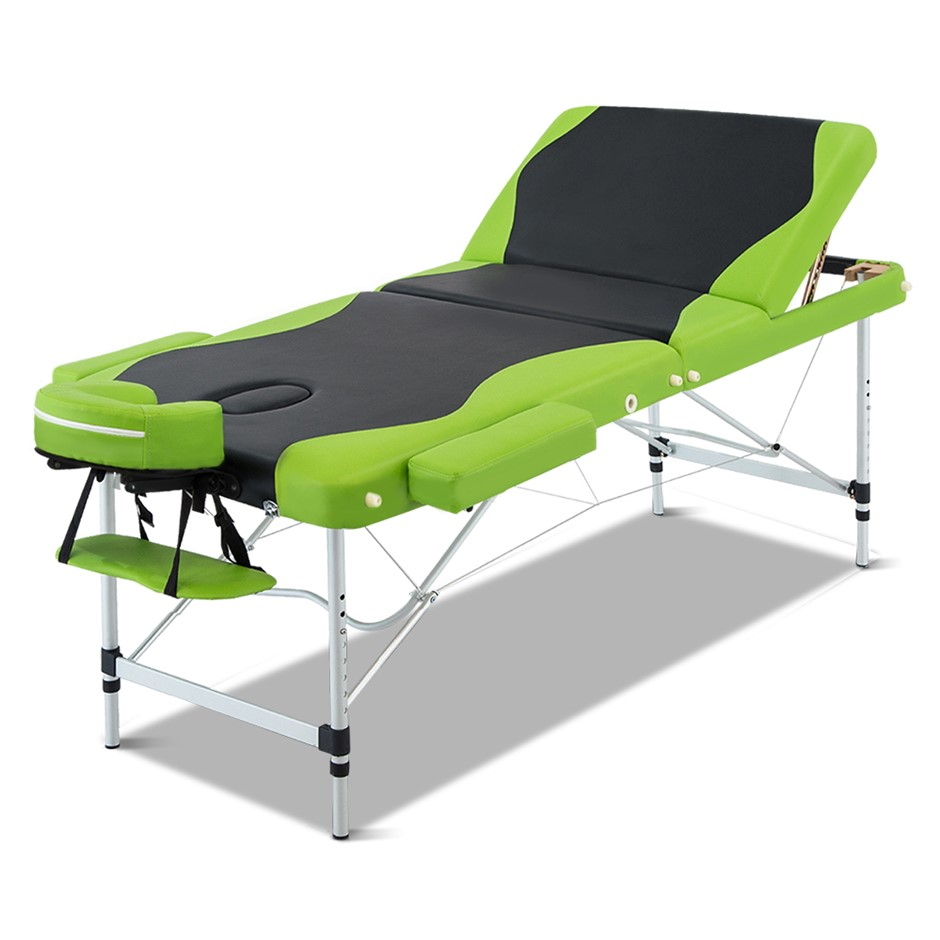 Zenses 3 Fold Portable Aluminium Massage Table - Green and Black