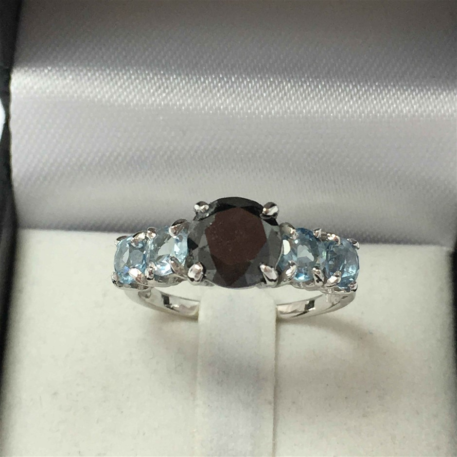 18ct White Gold, 3.90ct Diamond and Aquamarine Ring