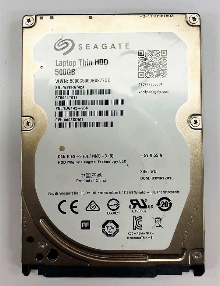 Seagate 2.5`` 500GB Laptop thin HDD Part number: 1DG142-286