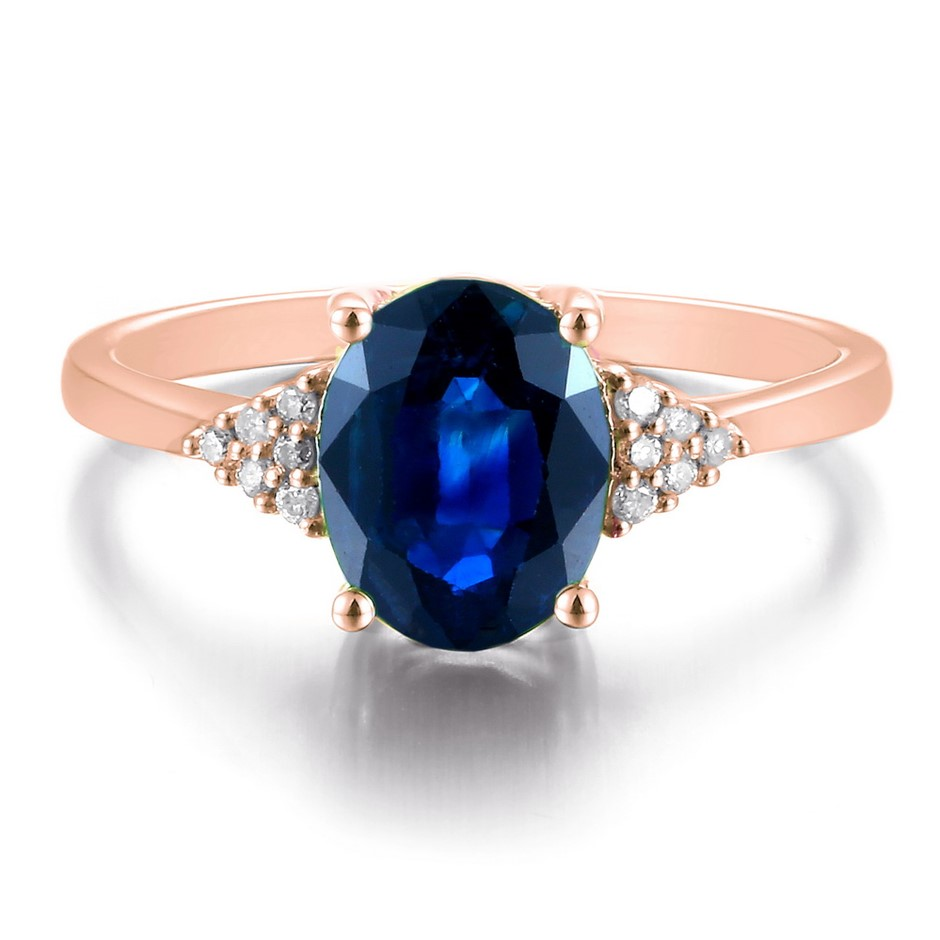 9ct Rose Gold, 2.72ct Blue Sapphire and Diamond Ring