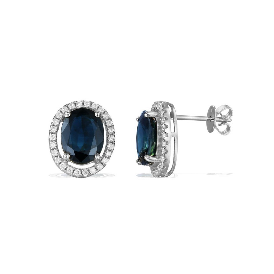 9ct White Gold, 4.82ct Blue Sapphire and Diamond Earring