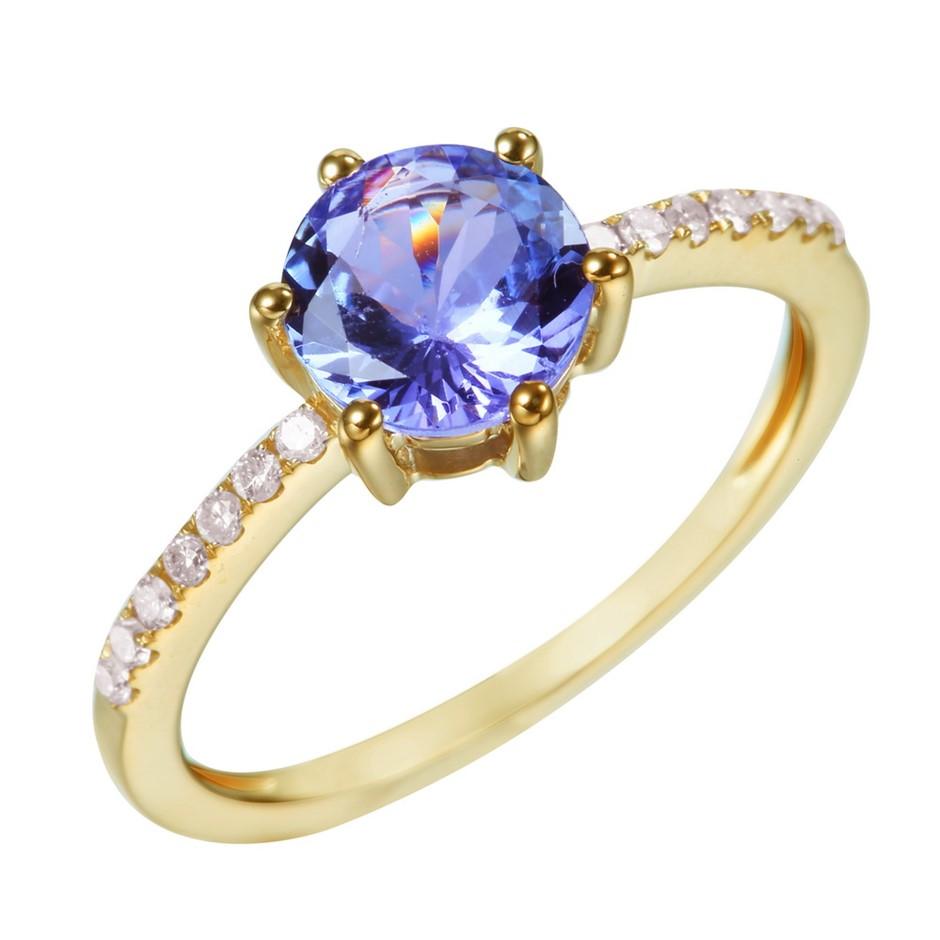9ct Yellow Gold, 1.40ct Tanzanite and Diamond Ring