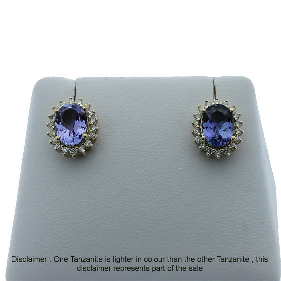 9ct Yellow Gold, 2.55ct Tanzanite and Diamond Earring
