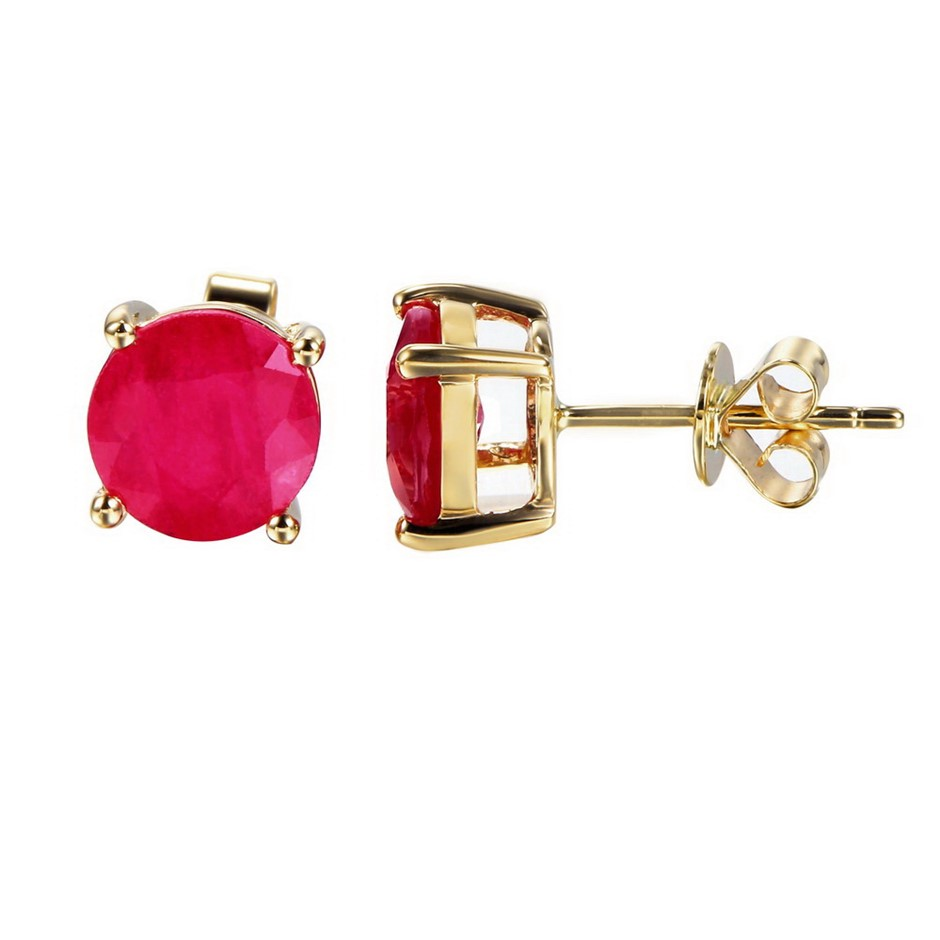 9ct Yellow Gold, 2.48ct Ruby Earring
