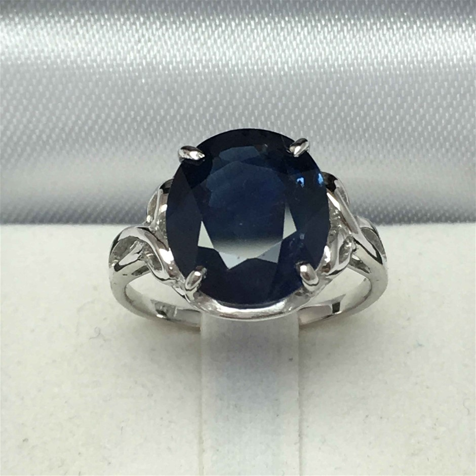 18ct White Gold, 5.93ct Blue Sapphire Ring