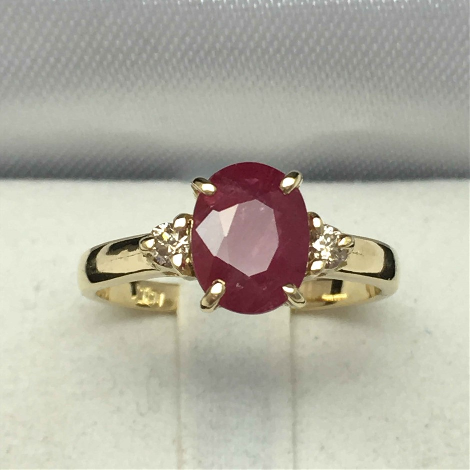 18ct Yellow Gold, 2.04ct Ruby and Diamond Ring