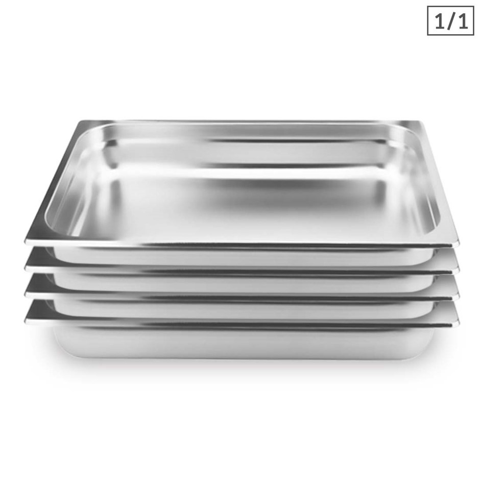 SOGA 4X Gastronorm GN Pan Full Size 1/1 GN Pan 10cm Stainless Steel Tray