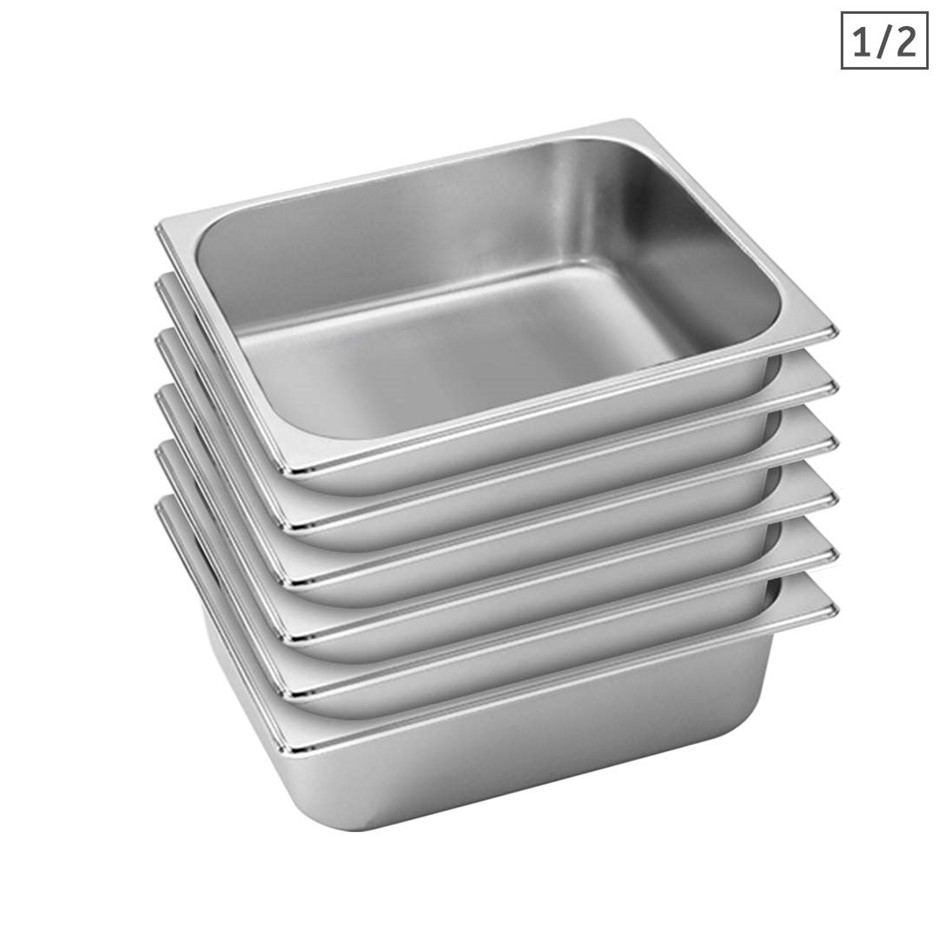 SOGA 6X Gastronorm GN Pan Full Size 1/2 GN Pan 10cm Stainless Steel Tray