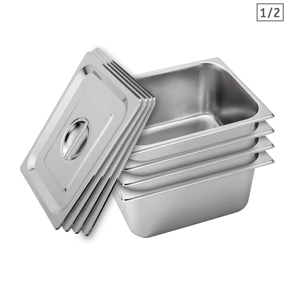 SOGA 4X Gastronorm GN Pan Full Size 1/2 GN Pan 15cm Deep Stainless Steel