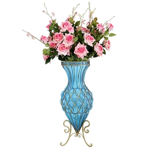 SOGA 67cm Blue Glass Floor Vase and 12pc