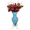SOGA 67cm Blue Glass Floor Vase and 12pcs Red Artificial Fake Flower Set
