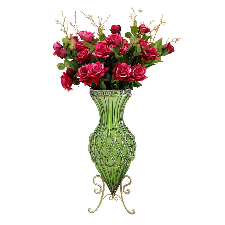 SOGA 67cm Green Glass Floor Vase and 12pcs Red Artificial Fake Flower Set