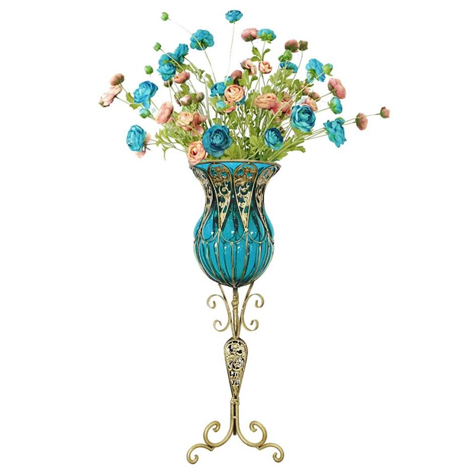 SOGA 85cm Blue Glass Floor Vase and 12pcs Blue Artificial Fake Flower Set