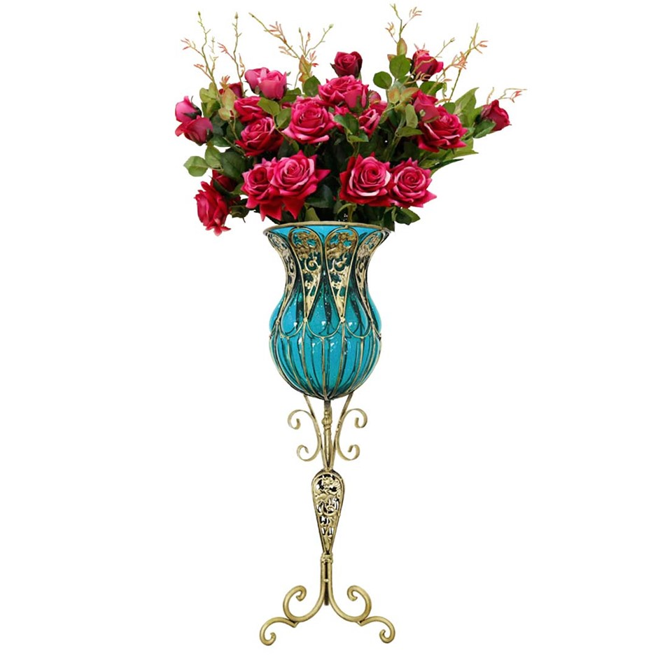 SOGA 85cm Blue Glass Floor Vase and 12pcs Red Artificial Fake Flower Set