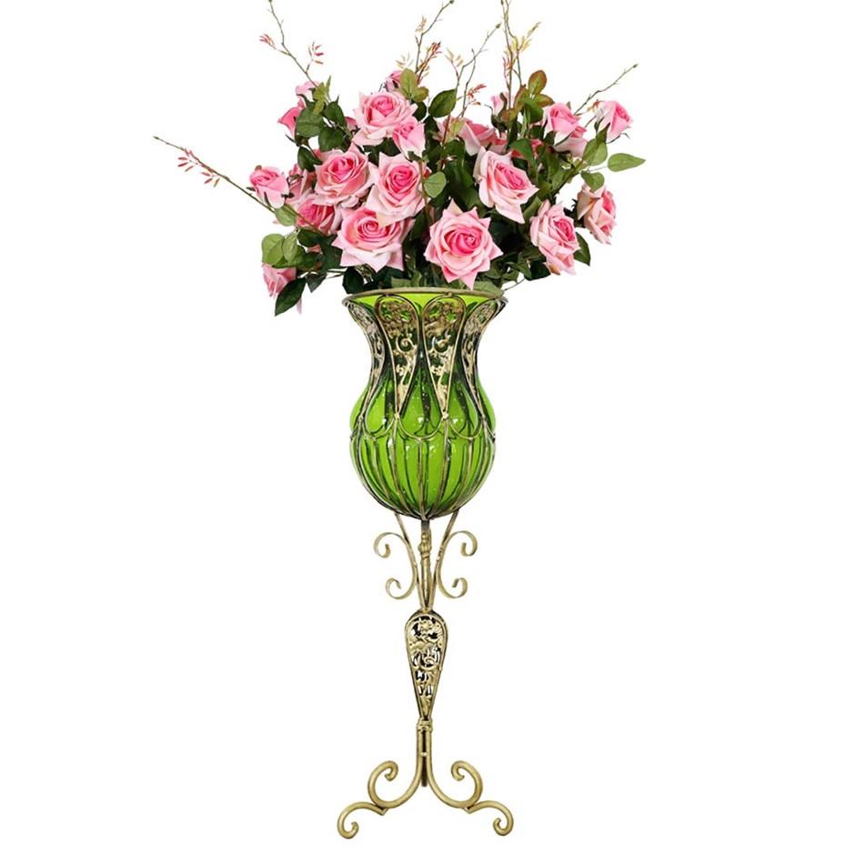SOGA 85cm Green Glass Floor Vase and 12pcs Pink Artificial Fake Flower Set