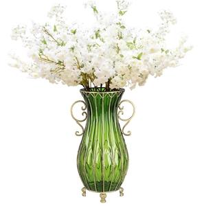 SOGA 51cm Green Glass Floor Vase and 10p