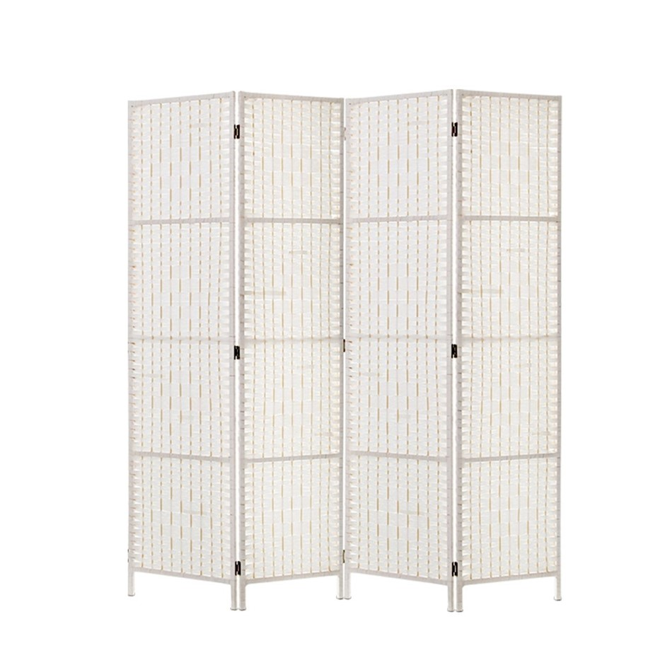 Artiss 4 Panels Room Divider Screen Privacy Rattan Timber Fold Woven White