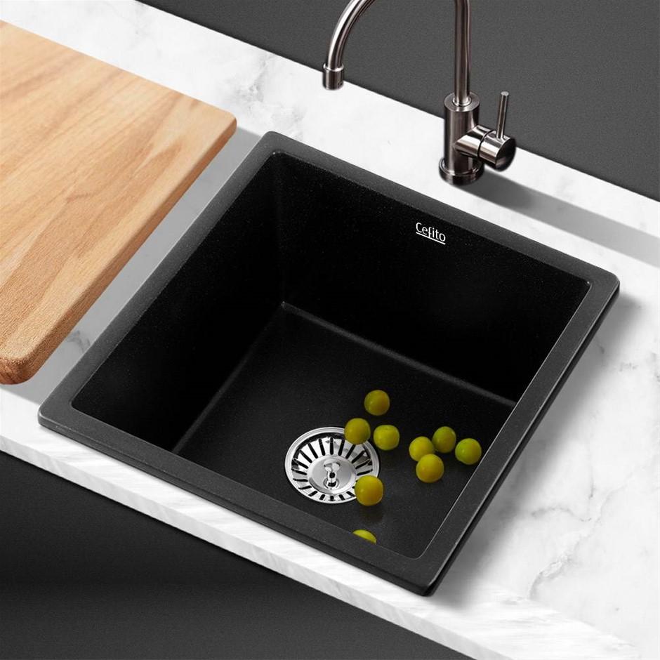 Cefito Kitchen Sink Stone Granite Laundry Top/Undermount Black 450x450mm