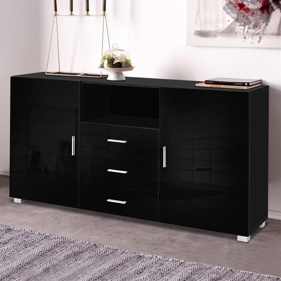 Artiss Buffet Sideboard Cabinet High Gloss Storage Cupboard Black