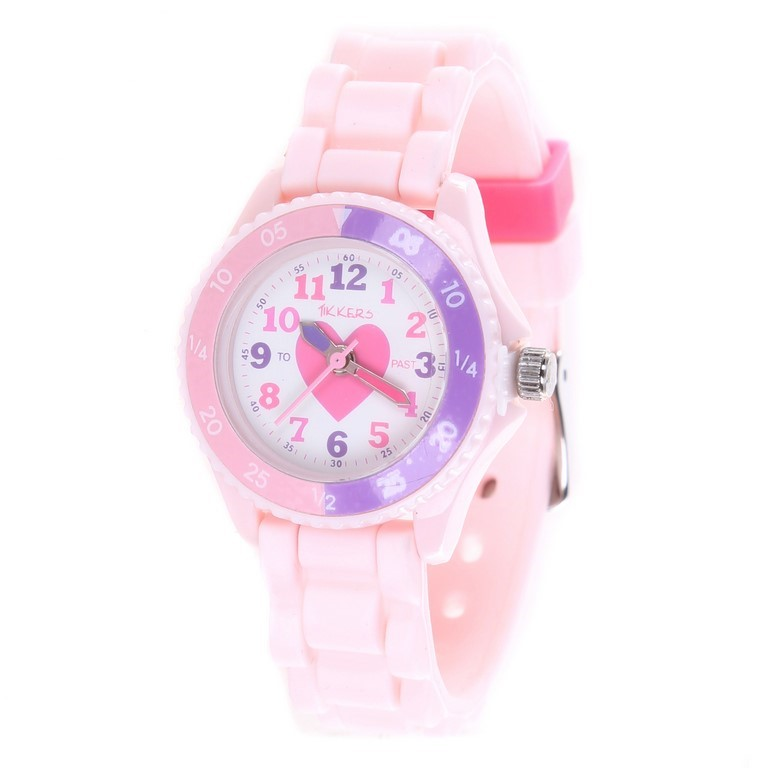 TIKKERS Girl`s Analogue Classic Quartz Wrist Watch, Heart Theme w/ Stainles