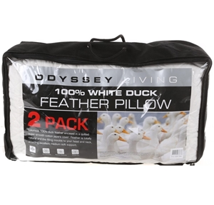 ODYSSEY LIVING 2pk Duck Feather Pillows.