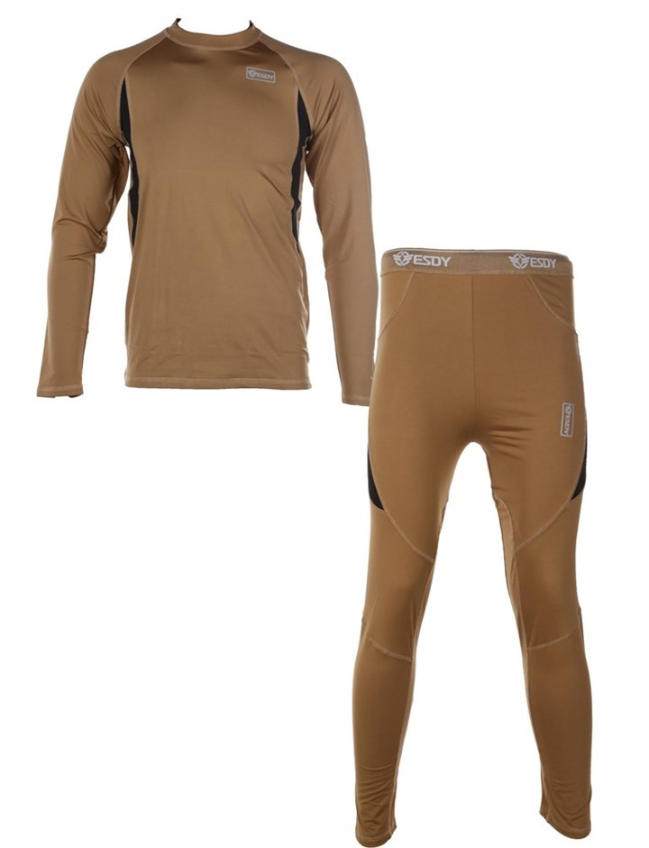 Thermal Military Underwear Top & Bottom Compression Style, Size 2XL, Brown.