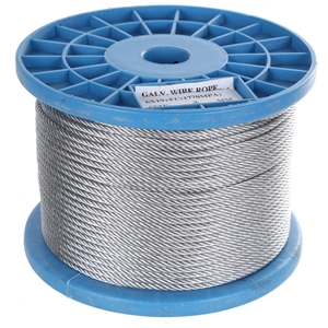 Reel 100M x Galv. Wire Rope, 3mm Dia, Co